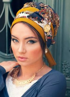 LaBelle Ready-to-Wear Turban- Navy & Mustard