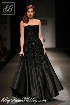 Siddartha Tytler off-shoulder black gown