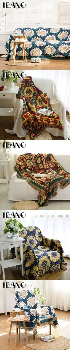 IBANO Cotton Throw Blanket Sofa Cover 130x180CM Vintage Chrysanthemum Thread Blanket For Home Decorative Beed Sheet Floor Mat