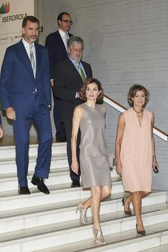 King Felipe VI of Spain (L) and Queen Letizia of Spain (2R) attend the Iberdrola Foundation Scholarships at the Casa de America on July 9, 2015 in Madrid, Spain.
