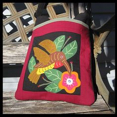 Cross Body Bag Features An Exquisite Hummingbird Mola  | thesunnysidebiz - Bags & Purses on ArtFire #handbags #clutches