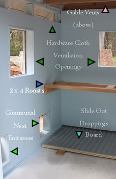 Photo shows details of passive ventilation in chicken coop. Link is to a journal entry with photos and technical details of hen house under construction.