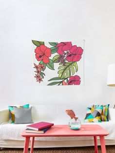 """Flowers Illustration' Wall Tapestry by Flowers Illustration' Wall Tapestry by """"Tropical Flowers"""" Wall Tapestry by Hawaiian Flowers, Tropical Flowers, Floral Flowers, Tapestry Design, Wall Tapestry, Textile Prints, Flower Wall, Sell Your Art, Vivid Colors"""