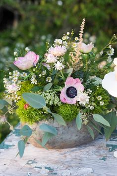 Moss and Wildflower Centerpiece | Still Moments Photography | See More! http://heyweddinglady.com/spring-meadow-wedding-shoot-from-still-moments-photography/