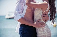 Sexy shot at sea-inspired summer wedding in Greece with photos by Photopek | via junebugweddings.com