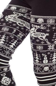 Amazon.com: Black & White Sleigh Me Leggings from Sourpuss Clothing: Clothing