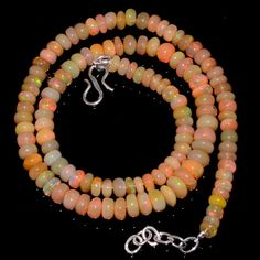"81CRTS 5.5to7.5MM 17.5"" ETHIOPIAN OPAL RONDELLE BEAUTIFUL  BEADS NECKLACE OBI179 #OPALBEADSINDIA"