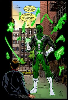 """Deadpool: """" What color is for sarcasm or insanity? """" March Mashups: Day 19 Expanding the Green Lantern Corps: 1 of 4 Deadpool as a Green Lantern. Marvel Dc Comics, Marvel Vs, Marvel Memes, Comic Book Characters, Comic Character, Comic Books Art, Comic Art, Deadpool Comic, Deadpool Funny"""