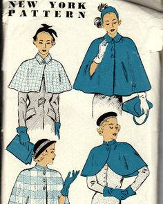 50s Cape or Capelet Pattern - New York Pattern 1024 - Size 16. $7.50, via Etsy.