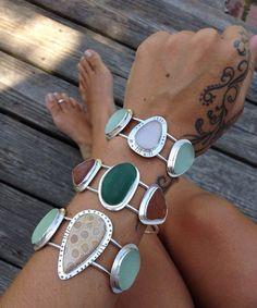 Mer verre Bracelet véritable grec turquoise mer par CapeCodGypsea