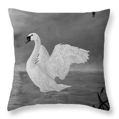 Swan Throw Pillow featuring the painting Lake Dancer by Faye Anastasopoulou