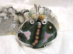 Ocean Jasper Green Agate Fish Pendant Solid 935 by etsy.com/shop/jewelrybypatterson Free shipping in U.S.
