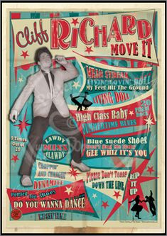 Cliff Richard, Poster, Graphic Design, Poster for Sale, Rock n Roll, Blues, Rhythm'n Blues, Punk, Sophie Lo
