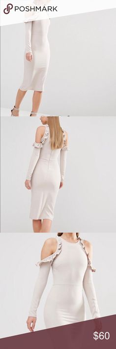 """🎉HP🎉 Cold Shoulder Midi Dress with Frill Detail Midi dress by Oh My Love from ASOS -Stretch woven fabric -High neckline -Cold-shoulder design -Frill detailing -Zip back fastening -Close-cut body-conscious fit -92% Polyester, 8% Elastane                                   -Measures approx. 44.5"""" long                                 -Waist measures approx. 13.5"""" when laying flat ASOS Dresses Midi"""