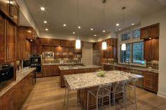 Bianco Antico Granite Design, Pictures, Remodel, Decor and Ideas Walnut Cabinets, Brown Cabinets, Huge Kitchen, Kitchen Decor, Kitchen Ideas, Kitchen Tables, Cheap Kitchen, Kitchen Inspiration, Kitchen Dining