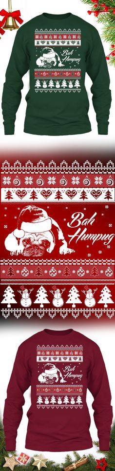 Bah Humpug Christmas Sweater  - Get this limited edition ugly Christmas Sweater just in time for the holidays! Buy 2 or more and SAVE ON SHIPPING!