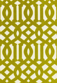 The iconic Schumacher design, first introduced as a hand printed fabric and wallcovering in 2005, is reinterpreted as an Italian woven cut velvet fabric. Plush cotton velvet pile gives this Asian-inspired fretwork design dimension and richness for a truly luxurious appearance. The color palette is bold, including dramatic black, teal and plum against ivory grounds.  Imperial Trellis Velvet in Chartreuse, 65591. http://www.fschumacher.com/search/ProductDetail.aspx?sku=65591