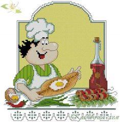 Кладовочка схем - вышивка крестиком Cross Stitching, Cross Stitch Embroidery, Cross Stitch Kitchen, Crochet Kitchen, Angelo, Plastic Canvas, Chefs, Pictures, Lion Of Judah