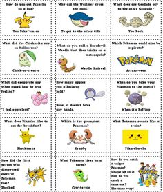 lunch box jokes printable | Do you have a P okemon Fan? Here are some Pokemon Joke Notes: