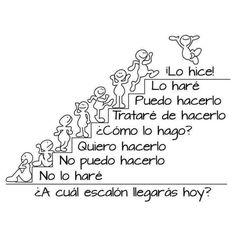Escalera del éxito Spanish Grammar, Spanish Teacher, Spanish Classroom, Teaching Spanish, Spanish Tenses, Spanish Sentences, Spanish Posters, Spanish Quotes, Motivational Quotes In Spanish