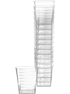 Small Clear Premium Plastic Square Tumblers 14ct - Party City