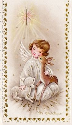 Vintage Little Angel Christmas card