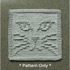 Unusual Cat Face Knitting Pattern for dishcloths or wash cloths. Original design by Aunt Susan's Closet.