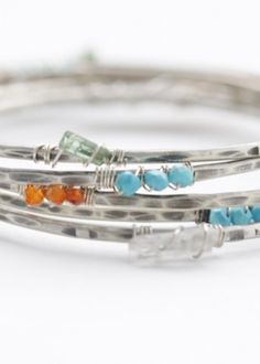 Gemstone Bangles by Bohemi Jewelry