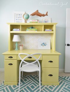 yellow painted desk hutch with @bhglivebetter