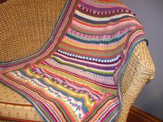 Multi colour, Multi stitched crochet stripe baby blanket