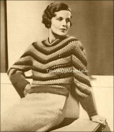 1930s ANGORA SWEATER Vintage Crochet Pattern  by touchofnostalgia7, $4.47