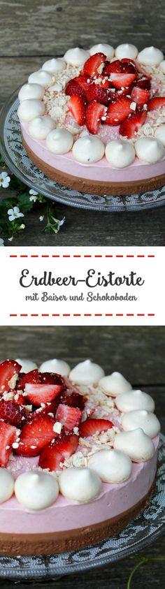 Erdbeer-Eistorte mit Baiser und Schokoboden