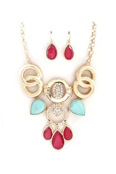 Gold Necklace with Red & Light Blue Stones with Red Earrings