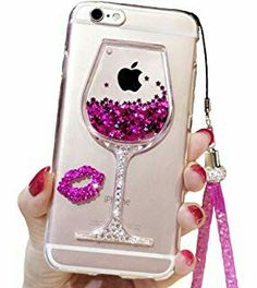 iPhone 6 Plus Liquid Case, Plus Case, Black Lemon Goblet Wine Glass Liquid Quicksand Flowing Floating Bling Glitter Sexy Makeup Case for Girls with Wrist Strap (Rose) - Automotive Parts and Accessories Liquid Iphone 6 Cases, Glitter Iphone 6 Case, Iphone Phone Cases, Iphone 4, Phone Cover, Apple Iphone 6, Iphone 8 Plus, Cute Cases, E Bay