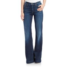 7 For All Mankind Ginger Flared Jeans ($189) ❤ liked on Polyvore featuring jeans, plus size, royal blue, 7 for all mankind, plus size flare jeans, flared jeans, blue jeans and royal blue jeans