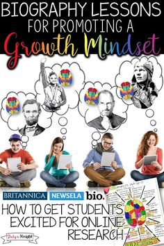 How to Get Students Excited for Online Research: Biography Lessons for Promoting a Growth Mindset - Study All Knight Middle School Writing, Middle School English, Teaching Tools, Teaching Resources, Teaching Ideas, Teaching Time, School Resources, Growth Mindset Lessons, Library Lessons