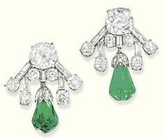 Art Deco diamond and emerald ear clips