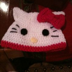 Crocheted Hello Kitty hat!