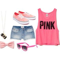 Victoria Secret Pink Outfits | Love Pink Victoria's Secret teenage girl summer outfit
