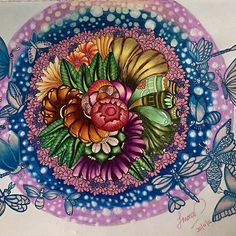 Done! Page 25 : The First Harvest  Book: Exotic Kingdom by Marty Woods Medium: Prismacolor Premiere & shinny gel pens #flowers #illustration #sketch #sketching #sketchbook #zenart #zendoodle #zentangle #draw #drawing #doodlemalaysia #doodleart #doodle #doodler #doodles #doodlers #doodling #tattoo #tattoart #pattern #abstract #coloringbooks #adultcoloringbook #colorista #prisma #prismacolorpencils #martywoodskk #bayan_boyan  #repost
