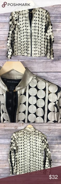 """Becky and Bobby Gold Dot Faux Leather Jacket Excellent condition. Becky and Bobby Gold Dot Faux Leather Jacket. Boutique Brand.  Amazing eye catching Fashion jacket!  Gold tone Faux leather dots on mesh.  Zip Up.  Approximate measurements  Armpit-Armpit: 18.5"""" Length: 24"""" Fabric: Poly/PU blend  No visible flaws or defects.  Please refer to photos as they provide the best description. No trades. Offers are warmly welcomed. Becky and Bobby Jackets & Coats"""