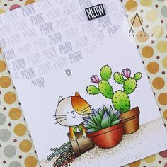I'm obsessed with red cats...and succulents!  Does anyone else know this feeling?  Stamps used: My favorite things: Sweet succulents, I knead you Colored with #copicmarkers  #mftstamps #sevenhillscrafts #madewithsevenhills #copicjumpstart #cardmaking #stamping #handmadecards #handmade