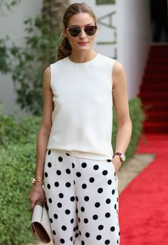 The Inspiration: Olivia Palermo - When Olivia stepped out at the Cartier International Dubai Polo Challenge in this look, our eyes immediately zeroed in on these chic polka dot pants. Style Olivia Palermo, Olivia Palermo Lookbook, 30 Outfits, Fall Outfits, Cartier, Polka Dot Pants, Polka Dots, Fashion Mode, London Fashion