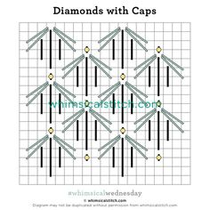 Diamonds with Caps Needlepoint Stitches, Needlepoint Canvases, Needlework, Bargello Needlepoint, Longarm Quilting, Machine Quilting, Star Quilts, Quilt Blocks, Machine Embroidery Projects