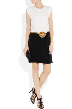 GUCCI, Floral-appliquéd two-tone silk dress