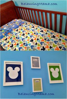 Mickey Mouse Inspired Baby's Room! Where purchased and how things were made can found here:  http://www.balancingmama.com/2014/01/mickey-mouse-inspired-baby-nursery.html   #disney #mickeymouse #nursery
