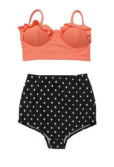 Old Rose Midkini Pad Top and Black Polka dot Highwaisted High Waisted Waist High-Waist Bikini Swimsuit Swimwear Bathing suit suits S M
