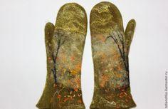 Купить Варежки валяные Листопад - варежки, варежки ручной работы, варежки женские, варежки из шерсти