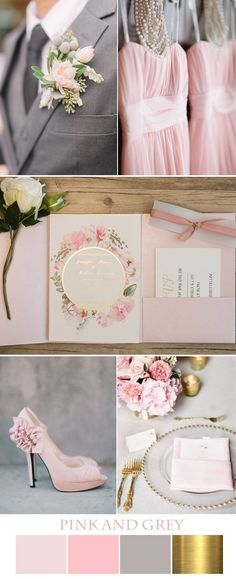 fancy romantic pink and grey wedding colors - like the idea of encorporating the gold accents as well, makes it a little bit more glam