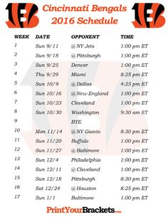 Printable Cincinnati Bengals Schedule - 2016 Football Season